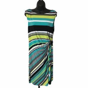 Tahari Striped Wrap Sleeveless Dress 1018